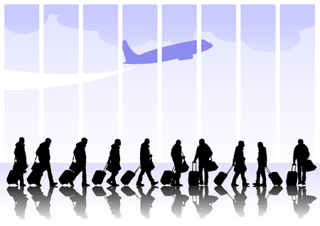 People with suitcases on white background