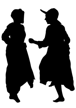 Women dancing folk sweden dances on white background