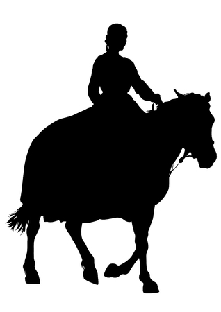 Horsewoman in an old suit on a horse on a white background