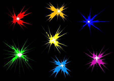 Multicolored festive salute on a black background