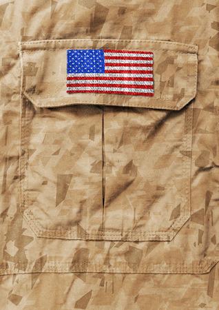 American flag on military uniform background