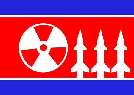 Sign of radiation and korea flag