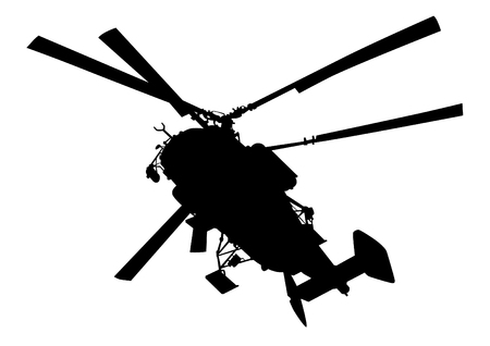 Large military helicopter on a white background