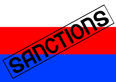 Word sanctions and flag of russia