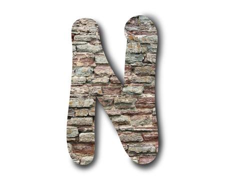 Lettere di mattoni dell'alfabeto inglese su sfondo bianco