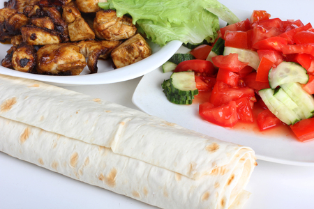 Products and ingredients for shawarma and cookware Stock Photo - 108545714