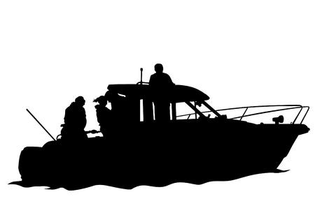 Sports motor boat on white background 일러스트