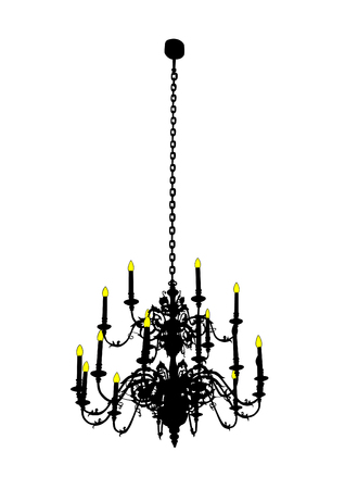 Antique metal chandelier on a white background