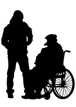 Older man in wheelchair on white background