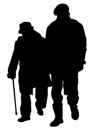 Couple of elderly people on white background