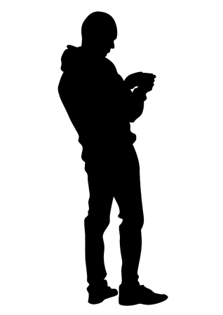 Man with phone on white background Vectores