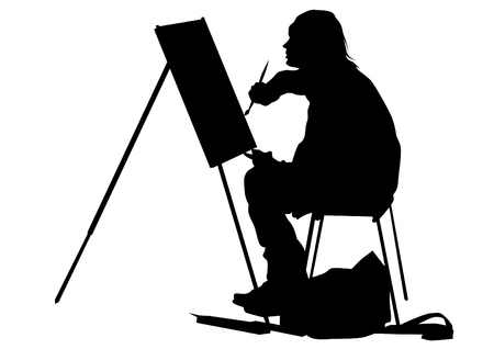 Young painter with ease and brush on white background
