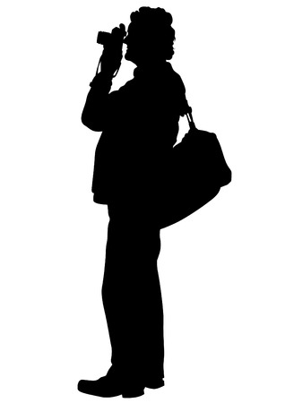 Man with a camera on white background Vectores
