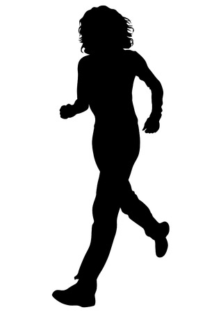 Woman athletes running on white background