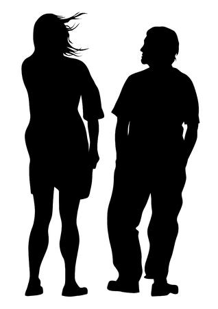 Pareja de chico y chica sobre fondo blanco. Ilustración de vector