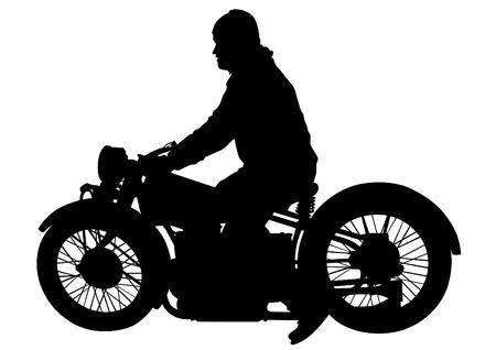 Old big bike and man white background