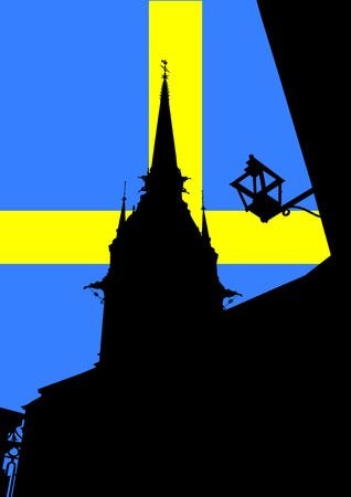 Stockholm old architecture. Silhouette of building Illustration