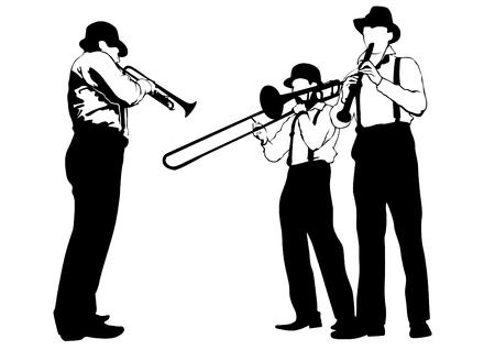 Musikmann mit Blaskapelle auf weißem Hintergrund Vektorgrafik