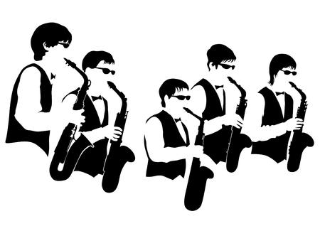 Music man whit jazz band on white background Ilustrace
