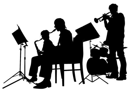 Music man avec jazz band sur fond blanc