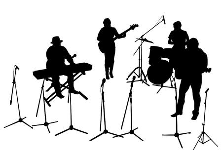 Music man whit jazz band on white background Vetores