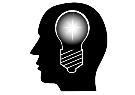 Electric lamp in mans head on a white background Illustration