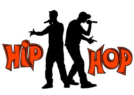 Artistes hip-hop avec micros sur scène Vecteurs