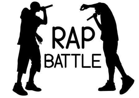 Artistas de hip-hop con micrófonos en el escenario.