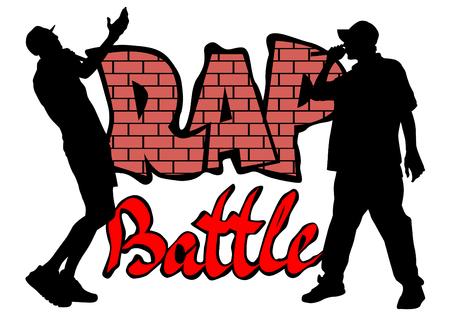 Hip-Hop-Künstler mit Mikrofonen auf der Bühne