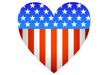 American flag and heart on a white background