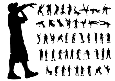 Artistas de hip-hop sobre fondo blanco.