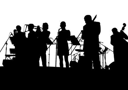 Music man whit jazz band on white background Illustration