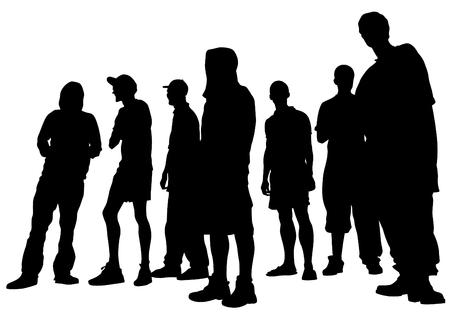 Junge Menschenmassen auf weißem Hintergrund