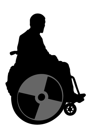 Silhouettes wheelchair and man on white background