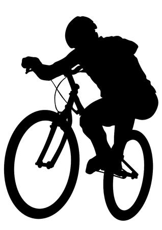 Gente deportiva con bicicleta sobre fondo blanco. Ilustración de vector
