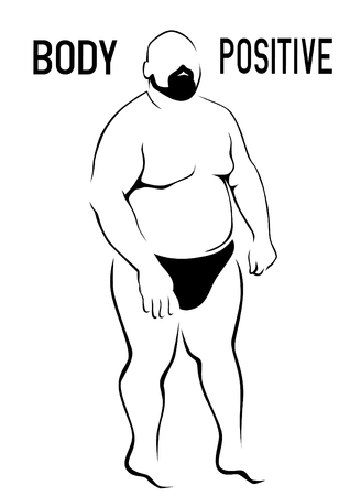 Fat man in shorts on white background