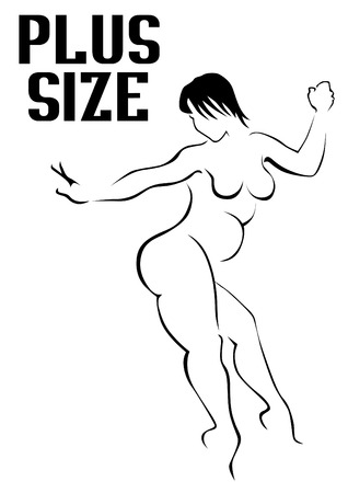 Beauty woman with a fat figure on white background Ilustrace