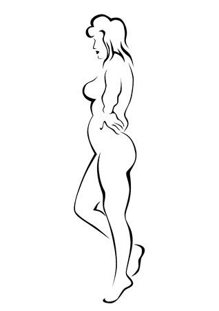 Mujer de belleza con una figura gorda sobre fondo blanco. Ilustración de vector