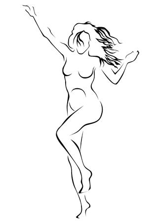 Jeune femme avec une figure sportive sur fond blanc