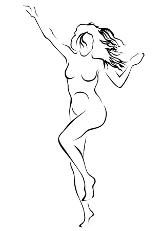 Young woman with a sports figure on a white background Illustration