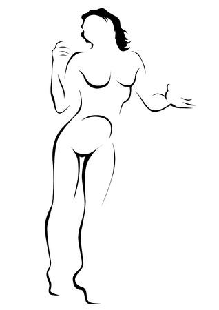 Jeune femme avec une figure sportive sur fond blanc Vecteurs