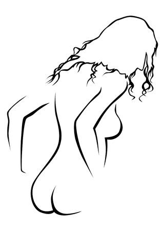 Belle femme avec une figure sportive sur fond blanc