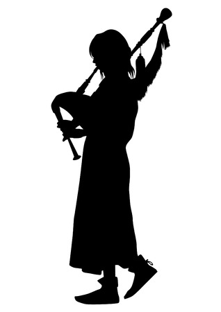 Woman in vintage clothes with bagpipes on white background