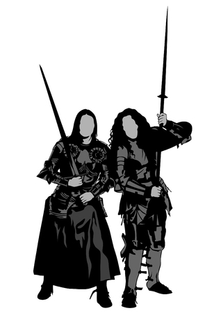 Young women in white knightly clothes on white background Vectores