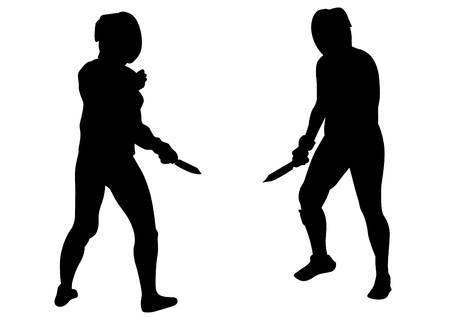 Women in sport fight with knives on white background Standard-Bild - 119195000