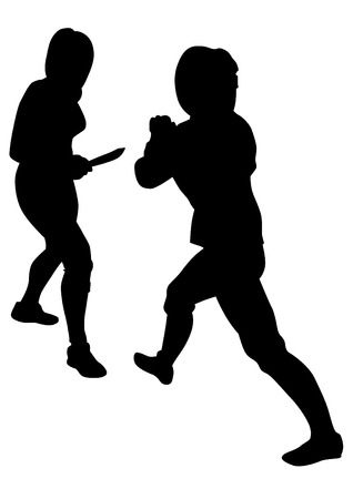 Women in sport fight with knives on white background Standard-Bild - 119195007