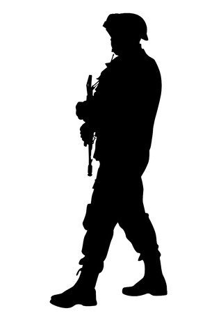 Soldier in uniform with weapon on white background