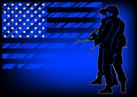 Soldier in uniform with weapon on flag background Illustration
