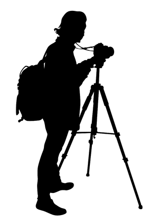 Man with a camera on white background 矢量图像