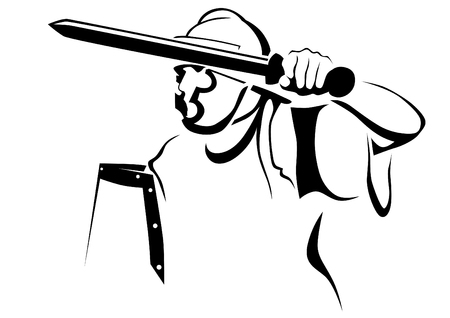 Skizzenzeichnung eines antiken römischen Kriegers auf weißem Hintergrund
